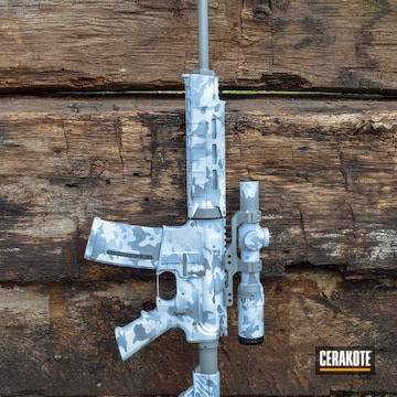 Cerakoted Tactical Rifle In A Snow Camo Finish