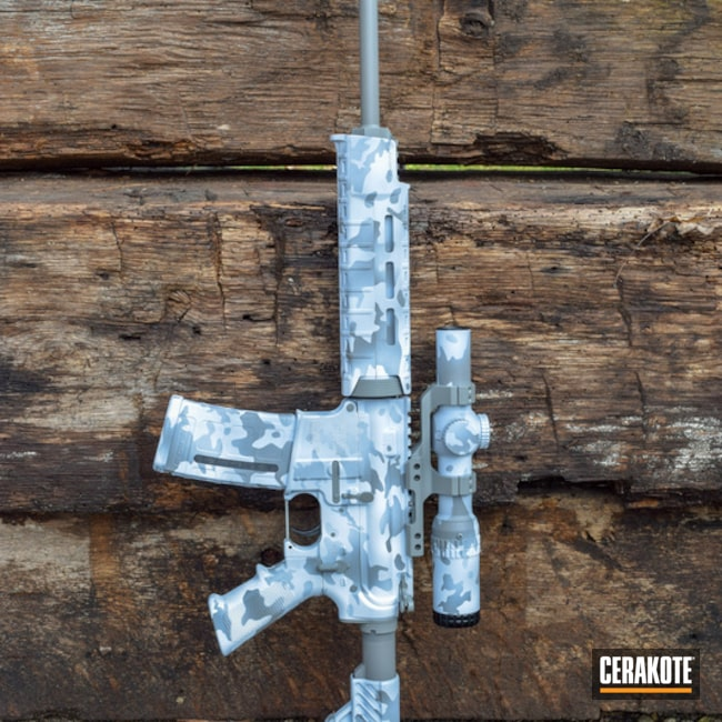 Cerakoted: DPMS Panther Arms,Smith & Wesson,Stormtrooper White H-297,Tactical Rifle,BATTLESHIP GREY H-213,Bull Shark Grey H-214,Snow MultiCam,Snow Camo