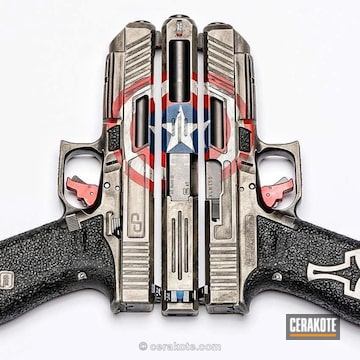 Cerakoted Captain America Themed Glock Handgun