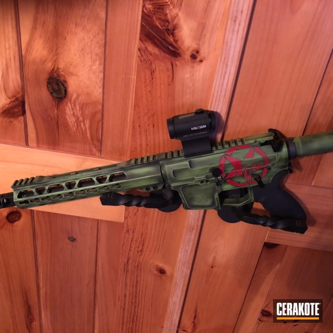 Cerakoted: FIREHOUSE RED H-216,Graphite Black H-146,Distressed,Zombie Green H-168,Tactical Rifle