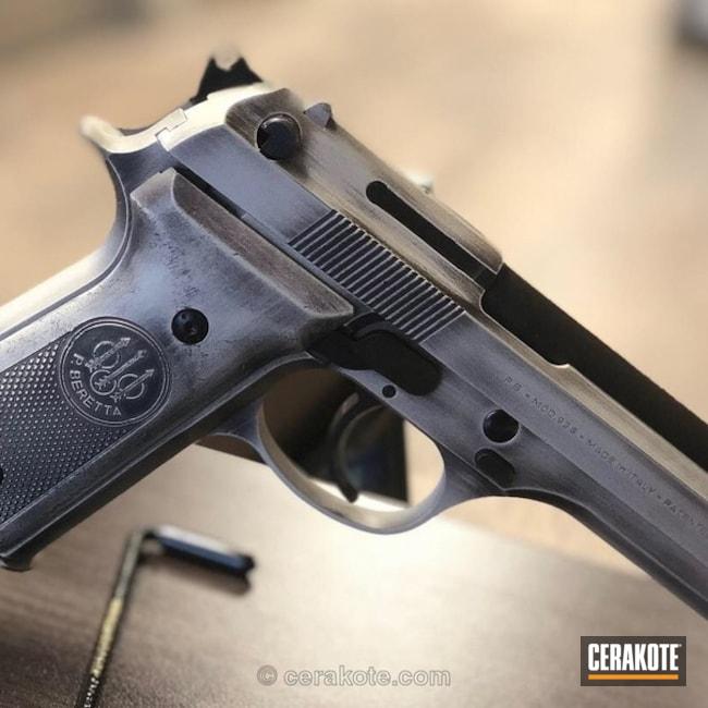 Cerakoted: Battleworn,Graphite Black H-146,Pistol,Beretta,Bright Nickel H-157