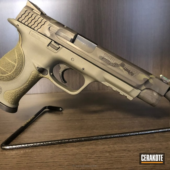 Cerakoted: Sniper Grey H-234,MultiCam,Sniper Green H-229,Graphite Black H-146,Smith & Wesson,Armor Black H-190,Pistol,MultiCam Black