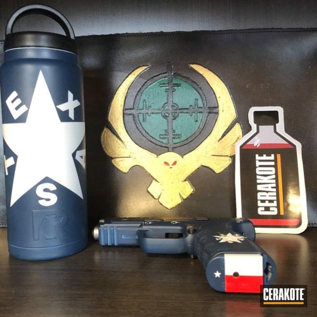Cerakoted: Bright White H-140,Texas Cerakote,USMC Red H-167,Pistol,KEL-TEC® NAVY BLUE H-127,Springfield Armory,Custom Tumbler Cup,Matching Set,Texas Flag