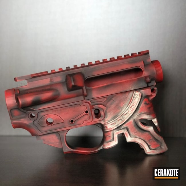 Cerakoted: Upper / Lower,Shimmer Aluminum H-158,FIREHOUSE RED H-216,Graphite Black H-146,Spartan Helmet,Gold H-122