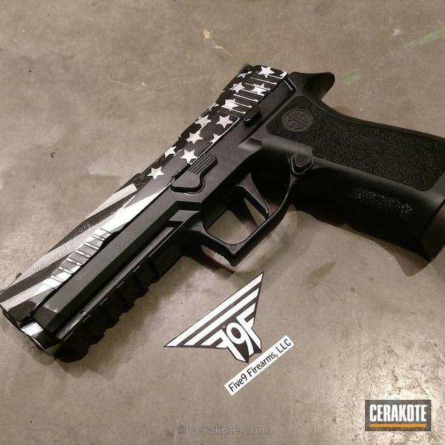 Cerakoted: Graphite Black H-146,Satin Aluminum H-151,Pistol,American Flag,Stars and Stripes