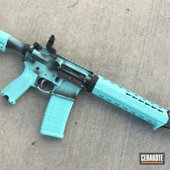 Cerakoted: Robin's Egg Blue H-175,Battleworn,Graphite Black H-146,Tactical Rifle,Nichols Guns Custom Shop,AR-15,Ladies