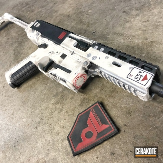 Cerakoted: Snow White H-136,Graphite Black H-146,Stormtrooper White H-297,USMC Red H-167,First Order,Stormtrooper Gun,Brugger and Thomet
