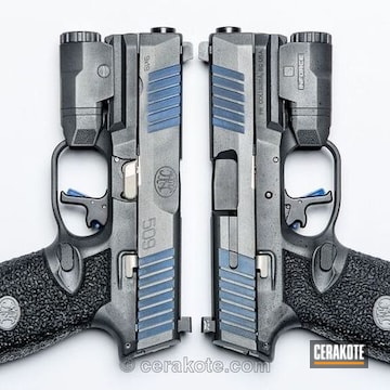 Cerakoted Two Fn 509 Pistols With Graphite Black, Nra Blue And Titanium