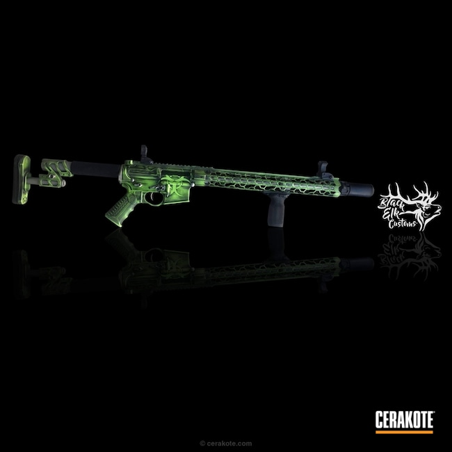Thumbnail version of the 6th project picture. Graphite Black H-146Q, AR-15, Spikes Receiver, Tactical Rifle, Zombie Green H-168Q, Apocalypse, Odinworks