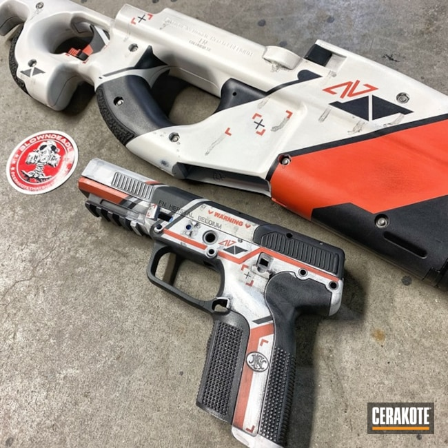 Cerakoted: PS90,ASIIMOV,Snow White H-136,Graphite Black H-146,Counter Strike,FN Five-Seven,Fnps90,CSGO,FN57,Hunter Orange H-128,FN Herstal