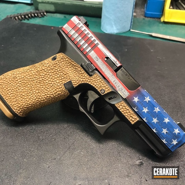 Custom American Flag and Stippled Glock 19X Handgun