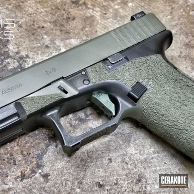 Custom Glock 17 Handgun with a Graphite Black and O.D. Green Cerakote Finish