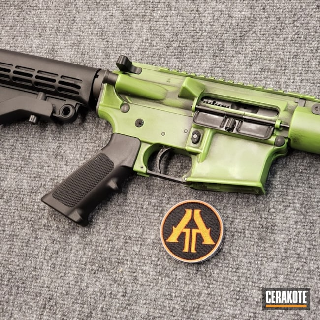 Smaller version of the 2nd project picture. Graphite Black H-146Q, Anderson Mfg., Distressed, Two Tone, Battleworn, AR-15, Rifle, Tactical Rifle, Zombie Green H-168Q, 5.56