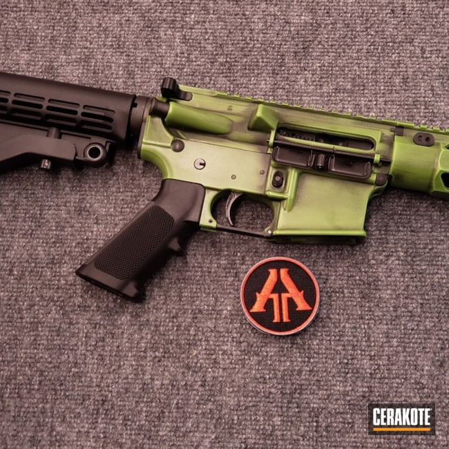 Smaller version of the 3rd project picture. Graphite Black H-146Q, Anderson Mfg., Distressed, Two Tone, Battleworn, AR-15, Rifle, Tactical Rifle, Zombie Green H-168Q, 5.56