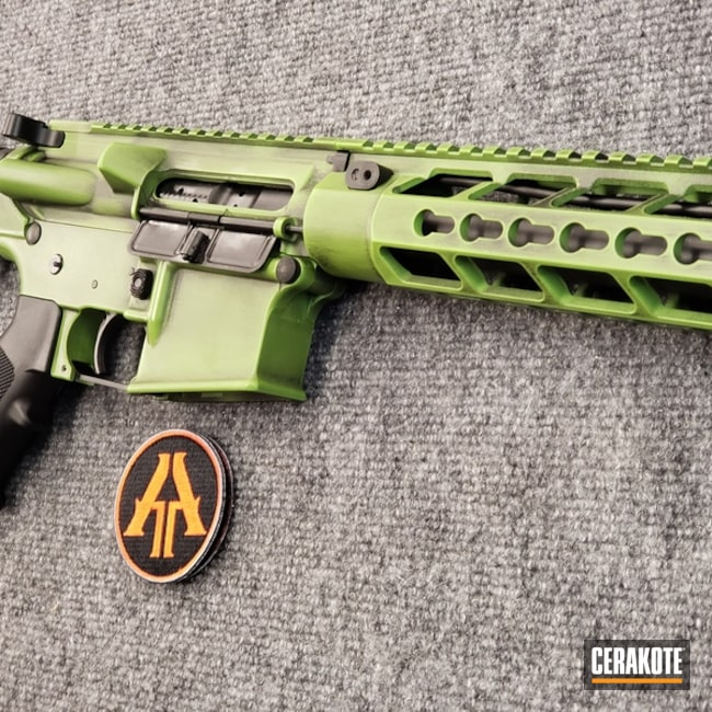Mobile-friendly version of the 1st project picture. Graphite Black H-146Q, Anderson Mfg., Distressed, Two Tone, Battleworn, AR-15, Rifle, Tactical Rifle, Zombie Green H-168Q, 5.56