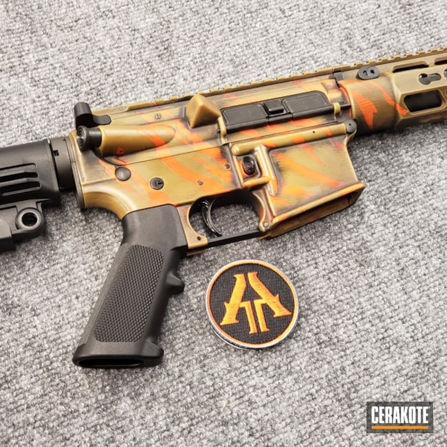 Mobile-friendly version of the 1st project picture. Graphite Black H-146Q, Anderson Mfg., Distressed, Battleworn, AR-15, Rifle, Tactical Rifle, Burnt Bronze H-148Q, 5.56, Hunter Orange H-128Q