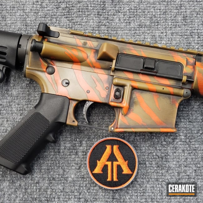 Mobile-friendly version of the 5th project picture. Graphite Black H-146Q, Anderson Mfg., Distressed, Battleworn, AR-15, Rifle, Tactical Rifle, Burnt Bronze H-148Q, 5.56, Hunter Orange H-128Q