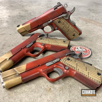 Cerakoted Iron Man Themed 1911 Handguns