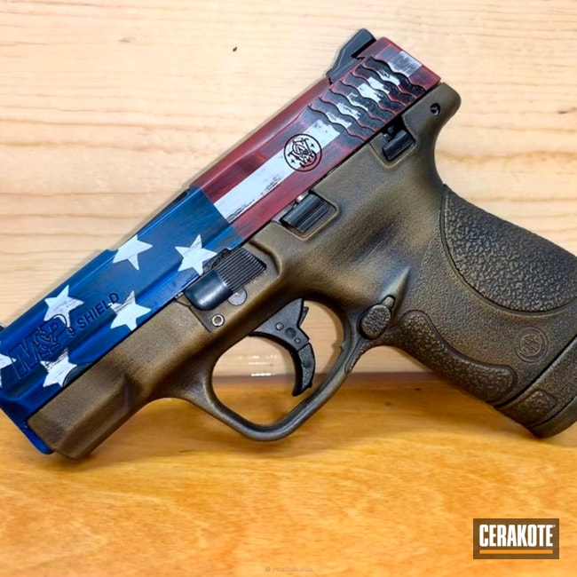 "Thumbnail image for project ""S& W Handgun in an American Flag Finish"""