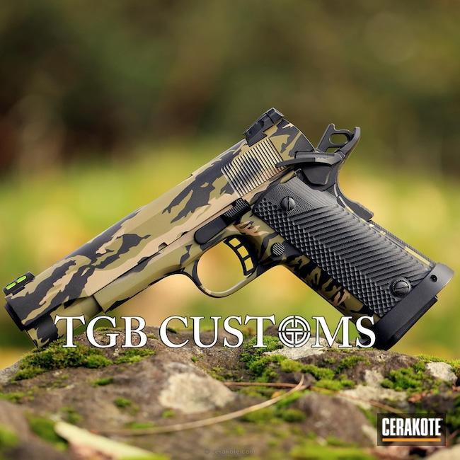 Cerakoted: Vietnam Tiger Stripe Camo,Graphite Black H-146,Desert Sand H-199,Rock Island Armory,Pistol,1911,Noveske Bazooka Green H-189