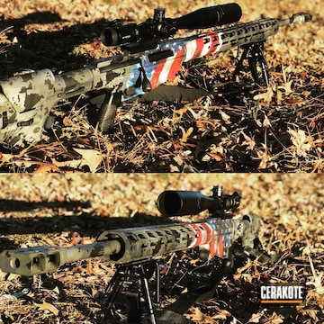 Cerakoted Bolt Action Rifle In A Cerakote American Flag Finish