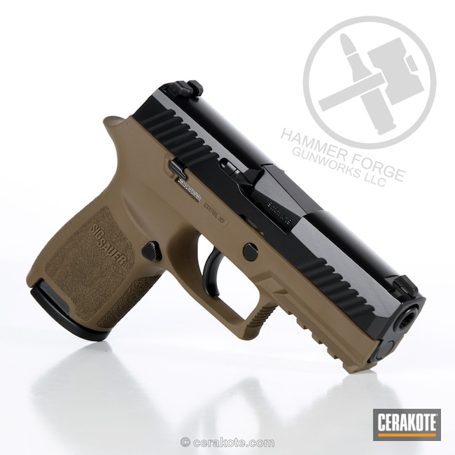 Cerakoted Two Toned Sig Sauer P320 Handgun Done In Springfield Fde And Blackout