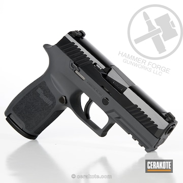 Cerakoted Sig Sauer P320 In A Two Tone Blackout And Springfield Grey Finish