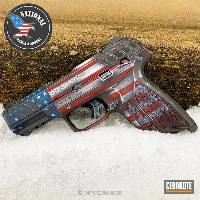 American / Confederate Flag finish on this Ruger Security 9