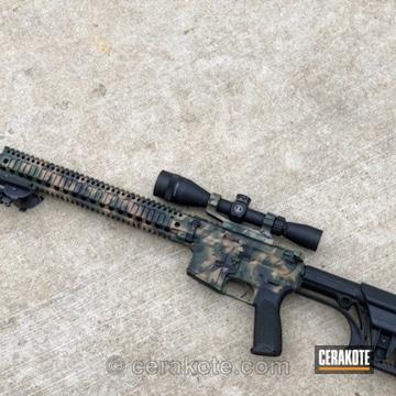 Cerakoted Precision Ar-15 Rifle In A Cerakote Woodland Camo Finish