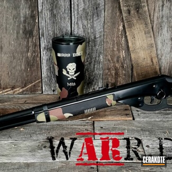 Custom Camo Lever Action Rifle and Tumbler