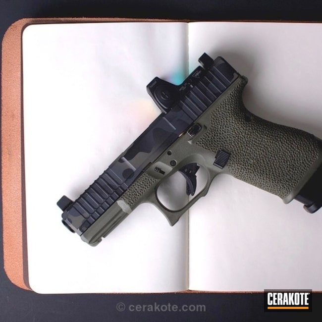 Cerakoted: Glock 19,Sniper Grey H-234,MAD Land Camo,MultiCam,Graphite Black H-146,Camo,Pistol,Glock,Handguns,MAGPUL® FOLIAGE GREEN H-231