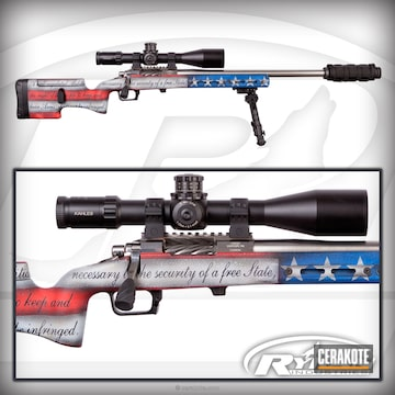 Cerakoted Patriotic Themed Bolt Action Rifle