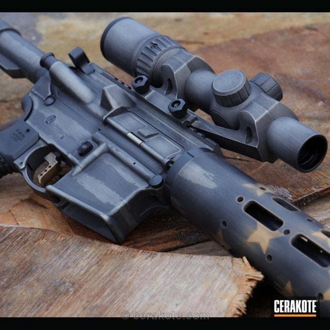 Cerakoted: Patriotic,Ruger,steineroptics,Battleworn,Warne,Graphite Black H-146,Distressed,Tactical Rifle,American Flag,Titanium H-170,Gold H-122,AR-15