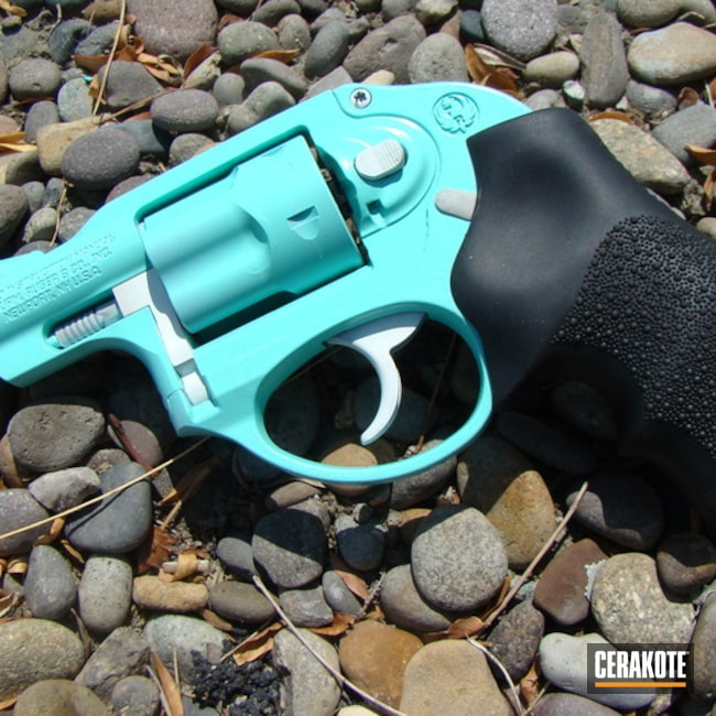 Cerakoted Robin's Egg Blue and Snow White Ruger LCR Revolver