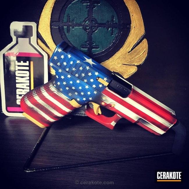 Cerakoted: USMC Red H-167,Pistol,American Flag,Distressed Mexican Flag,Texas Flag,Gold H-122,Dual Flags,Bright White H-140,Glock 32,Highland Green H-200,NRA Blue H-171,Distressed American Flag,Glock,Mexican Flag,Distressed Texas Flag
