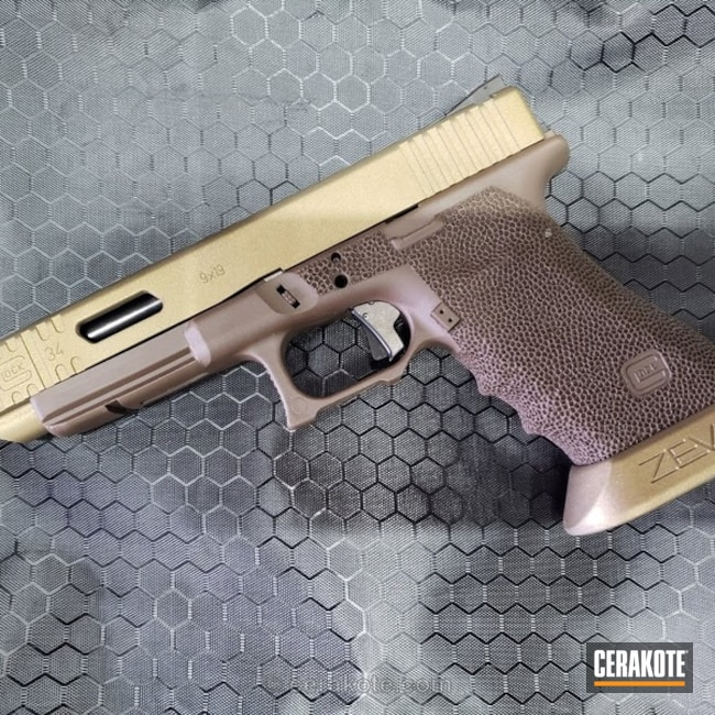 Mobile-optimized version of the 1st project picture. Glock, Two Tone, Pistol, Glock 34, Burnt Bronze H-148Q, Barrett Bronze H-259Q, Zev, Zev Glock