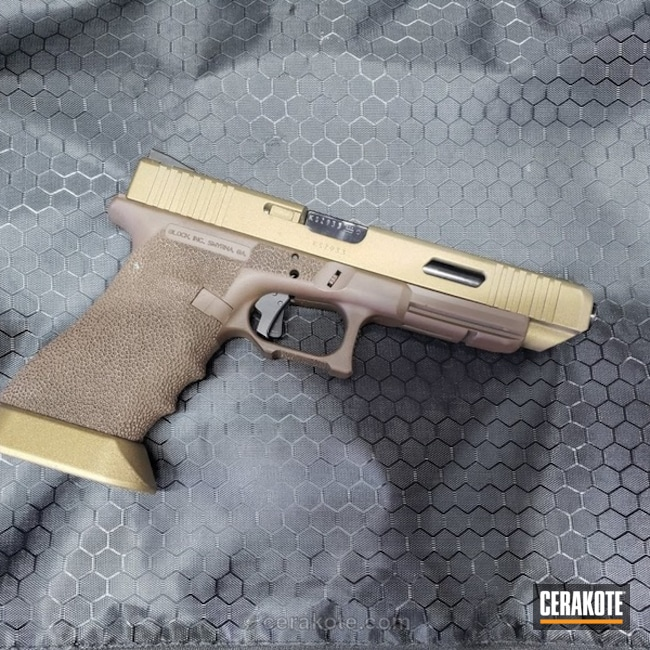 Mobile-friendly version of the 3rd project picture. Glock, Two Tone, Pistol, Glock 34, Burnt Bronze H-148Q, Barrett Bronze H-259Q, Zev, Zev Glock