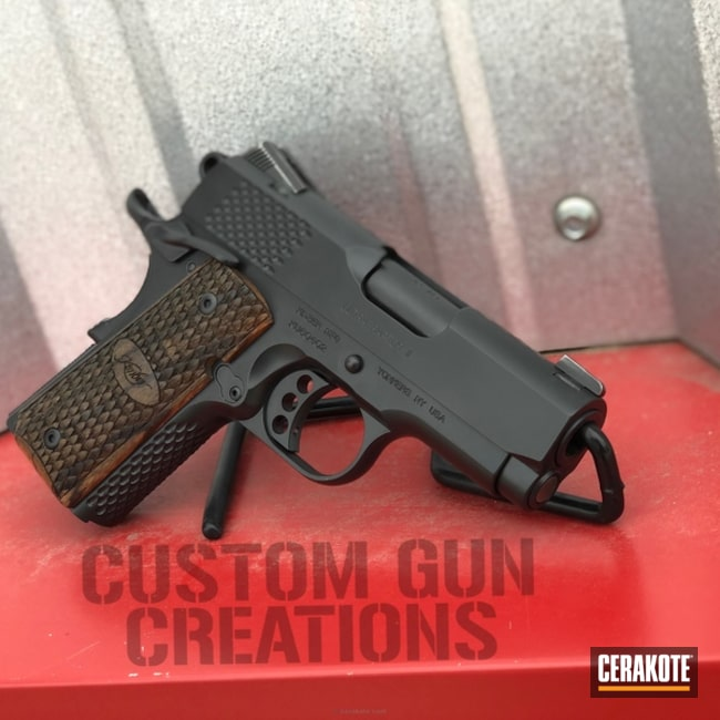 Thumbnail version of the 2nd project picture. Kimber, Pistol, Compact, EDC, Kimber 1911, Cerakote Elite Series, Complete Restoration, Murdered Out, Blackout E-100Q