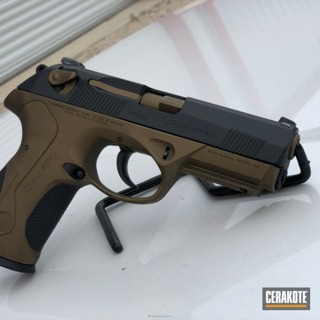 "Thumbnail image for project ""Beretta PX4 in a Graphite Black and Burnt Bronze Two Tone Finish"""