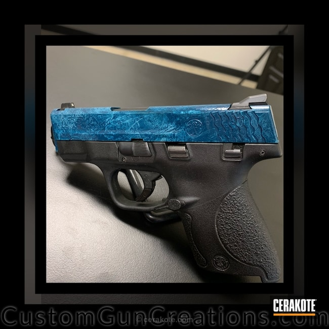 Smaller version of the 1st project picture. Smith & Wesson, M&P Shield, Pistol, Sky Blue H-169Q, Satin Aluminum H-151Q, High Gloss Ceramic Clear MC-160Q, Marble, Marbled