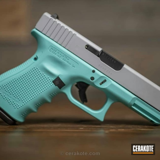 "Thumbnail image for project ""Two Toned Glock in Robin's Egg Blue and Crushed Silver"""