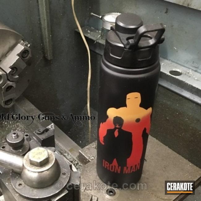 Cerakoted: Water Bottle,Graphite Black H-146,Not Just Guns,Aluminum Water Bottle,Crimson H-221,Custom Water Bottle,EDC,Stark Industries,Gold H-122,Iron Man