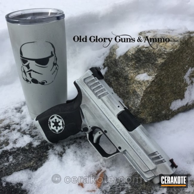 Cerakoted: Stormtrooper,Snow White H-136,Graphite Black H-146,Coffee Mug,Imperial,Springfield XD,Star Wars Theme,Springfield Armory,Carry Gun,Daily Carry,Matching Set,Imperial Logo