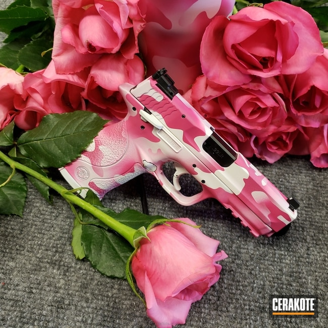 Mobile-friendly version of the 3rd project picture. Smith & Wesson, MultiCam, 22lr, Pistol, Girls Gun, Sig Pink H-224Q, Snow White H-136Q, Valentine's Day