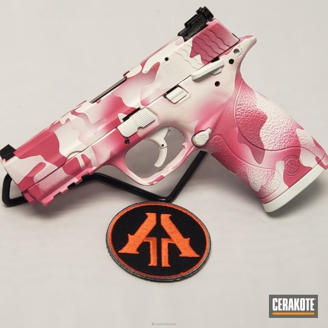 Smaller version of the 4th project picture. Smith & Wesson, MultiCam, 22lr, Pistol, Girls Gun, Sig Pink H-224Q, Snow White H-136Q, Valentine's Day