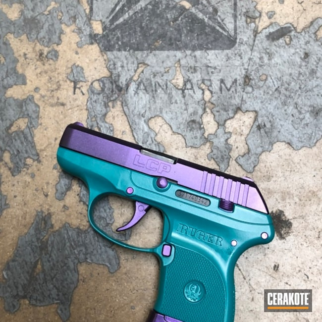 Ruger LCP Handgun in a Custom Teal Mix and gun Candy Finish
