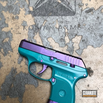 Cerakoted Ruger Lcp Handgun In A Custom Teal Mix And Gun Candy Finish