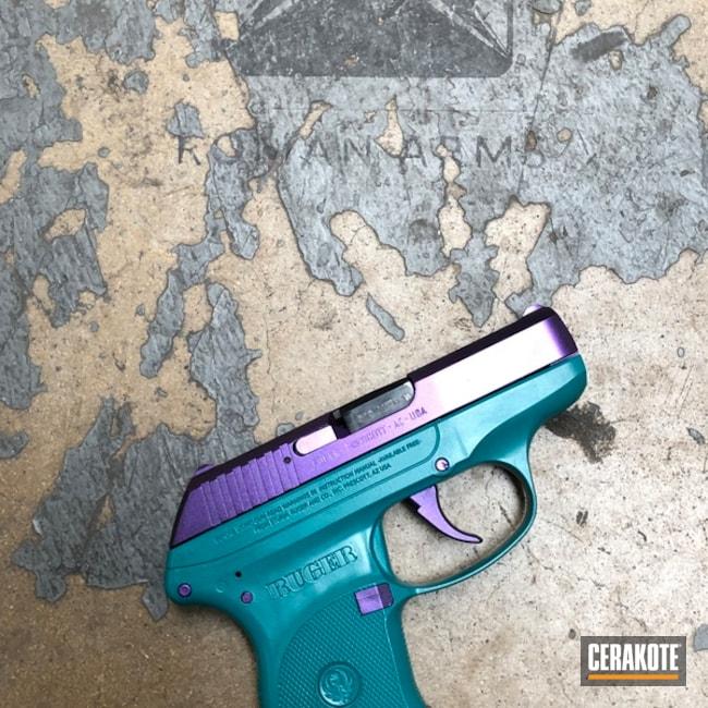 Cerakoted: LCP,Custom Mix,Robin's Egg Blue H-175,Ruger,Armor Black H-190,Pistol,EDC,GunCandy,Custom Mix Teal,HIGH GLOSS CERAMIC CLEAR MC-160,GunCandy Majesty,Handguns,Sky Blue H-169