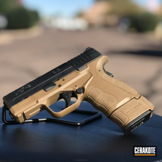 Cerakoted Two Toned Springfield Xds Handgun In Cerakote Fde