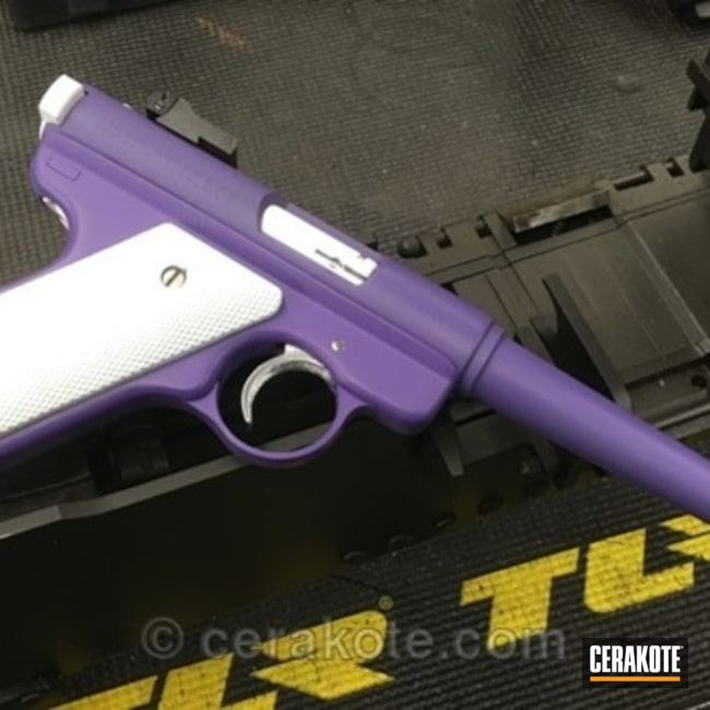 Ruger MK1 Target Pistol in Cerakote Snow White and Wild Purple
